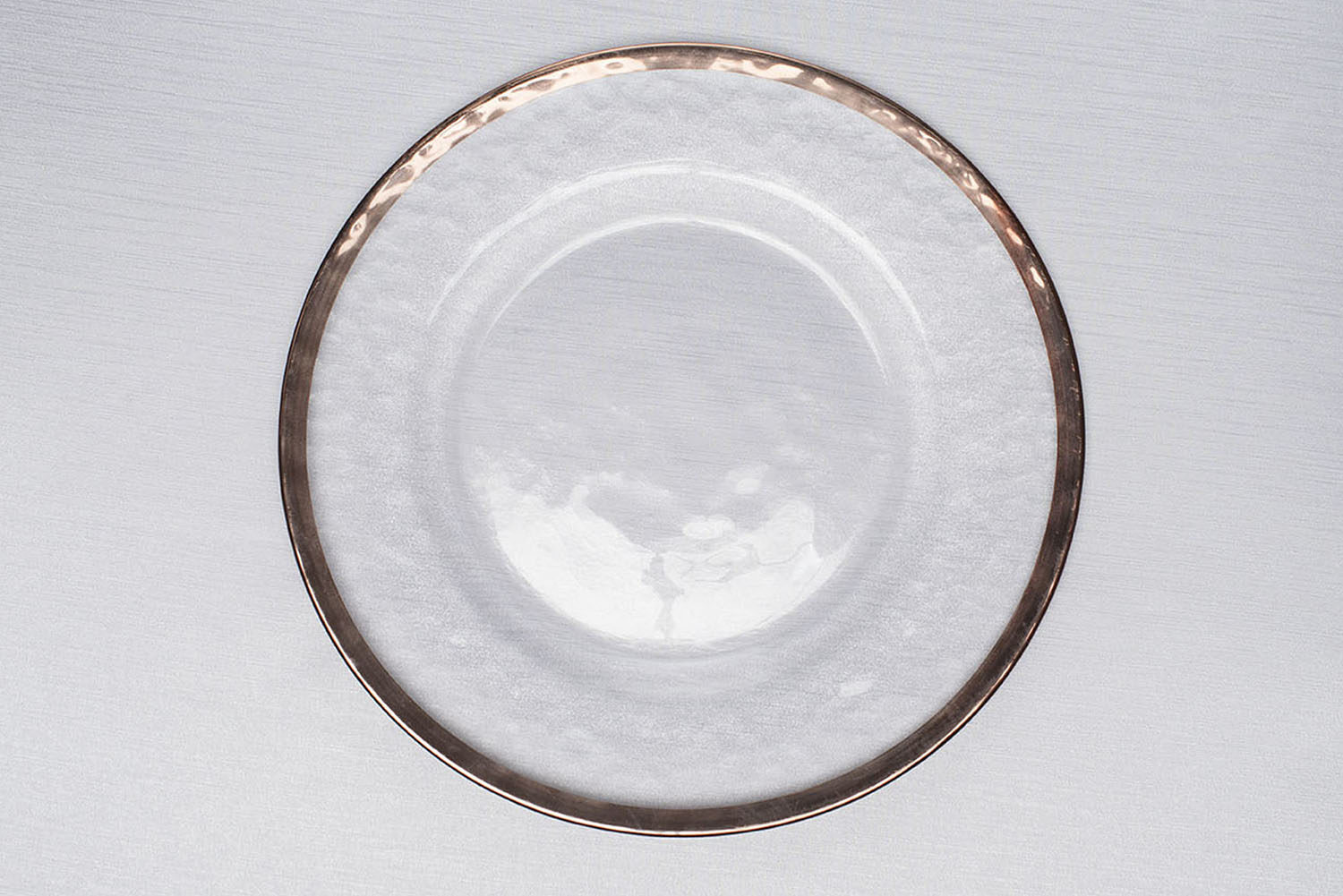 Clear modeled glass rose gold rim charger plate