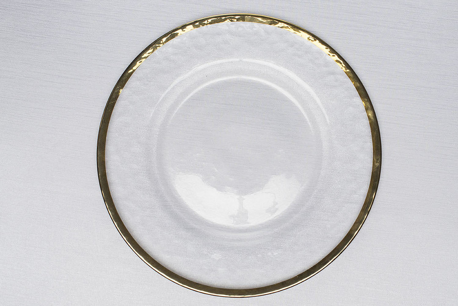 Fabulous Clear Modeled Glass, Gold Rim Charger Plate | Centerpiece Table  GL91