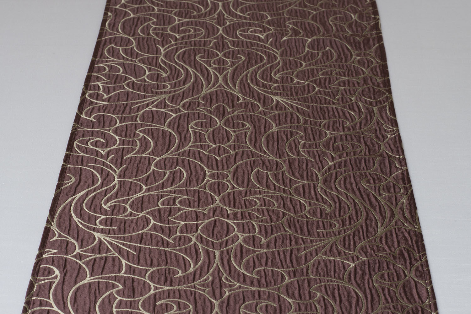 Textured Swirl Pattern, Burgundy Ground, Iridescent Taupe Accent Standard Table  Runner