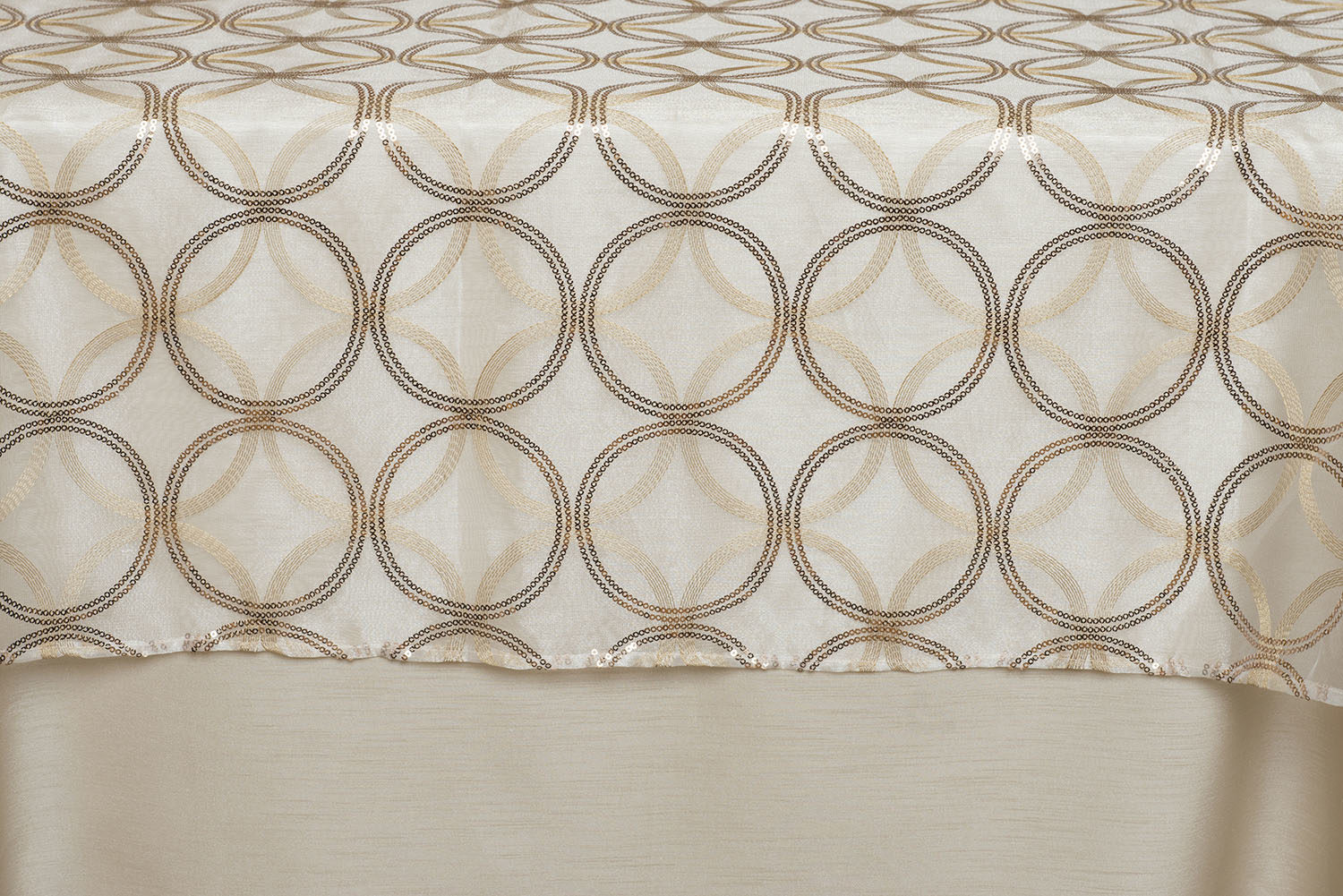 Sheer Layered Circles Gold Embroidery And Sequins Table Toppers Centerpiece Linen Decor