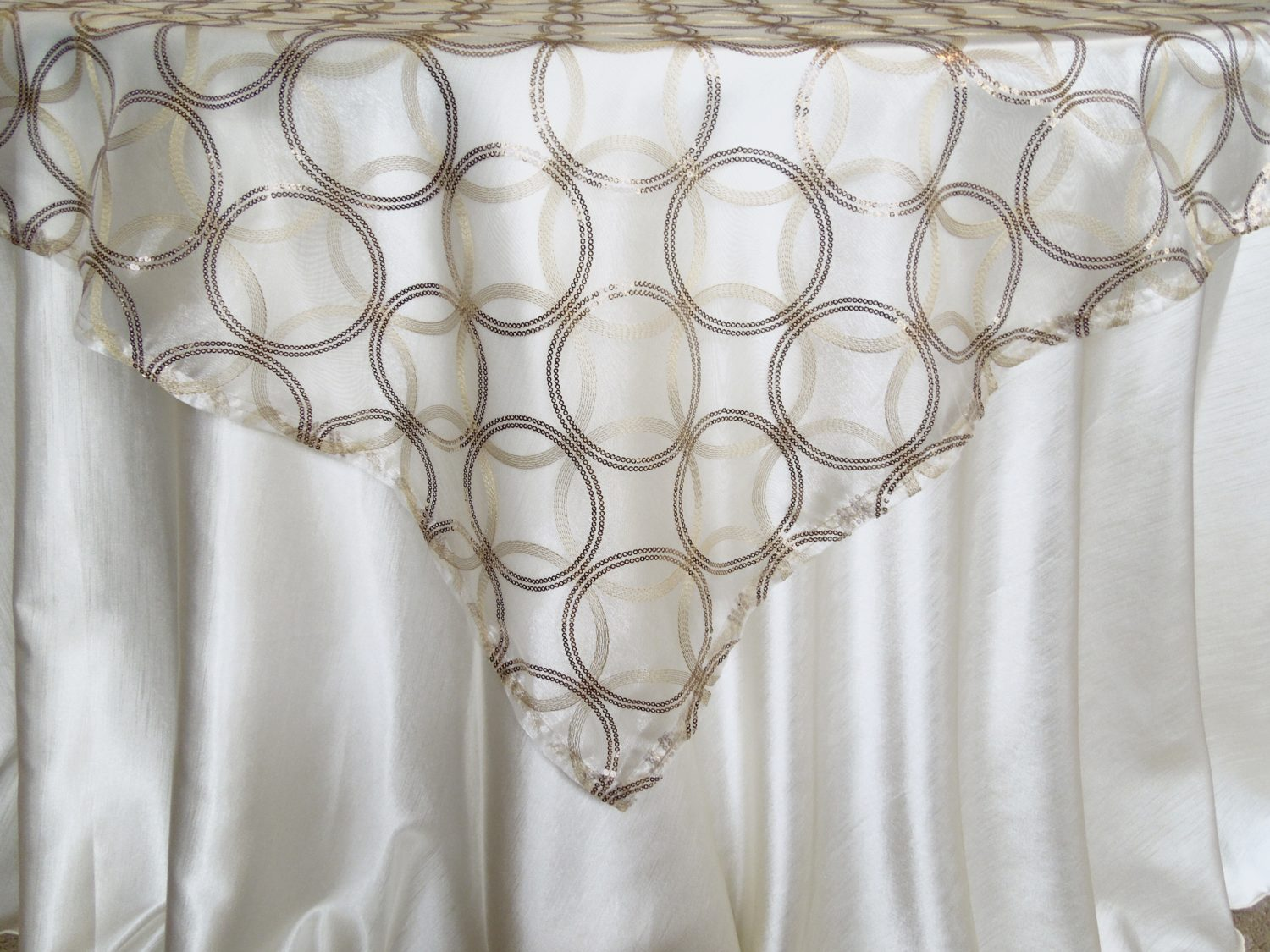 Rental Table Overlay Sheer Gold Embroidery And Sequins Centerpiece Linen Decor